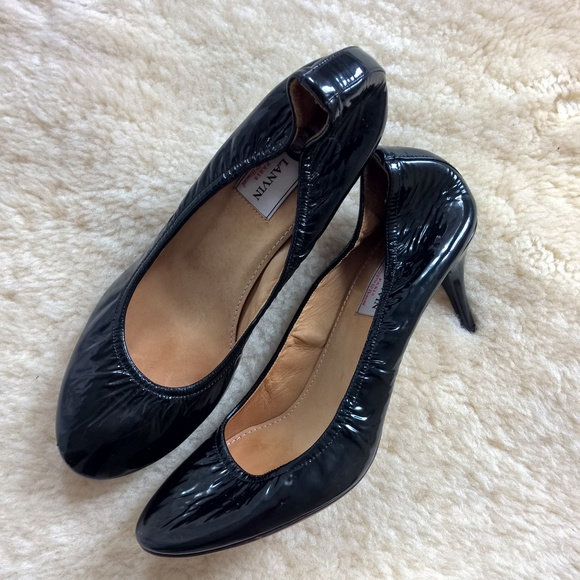 fe6a7b5a9dc8 LANVIN black ballerina patent leather heels 40